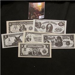 Five-Piece Set of Miniature Currency Obsolete Bank notes. Green backs, black faces.