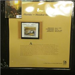 1997 Florida $3.50 Waterfowl Stamp, Hooded Merganser, Mint, unused, in original holder with literatu