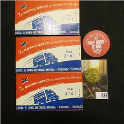 "(3) Booklets of 48 Air Mail Labels ""Compliments of ""Chuck"" Whipple Thompson Transfer & Storage Co. 5"