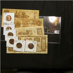 "(4) Pieces of ""Colonial"" (bread) ""Early American Money""; 1955D, 56P, & D, & (3) BU 1960 D Small Date"