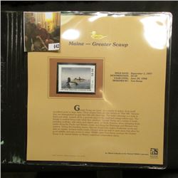 1997 Maine $2.50 Waterfowl Stamp, Greater Scaup, Mint, unused, in original holder with literature.