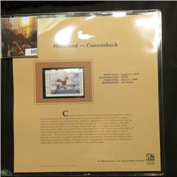 1997 Maryland $6 Waterfowl Stamp, Canvasback, Mint, unused, in original holder with literature.