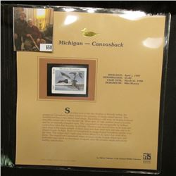 1997 Michigan $5.00 Waterfowl Stamp, Canvasback, Mint, unused, in original holder with literature.