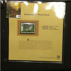 1997 Mississippi $5 Waterfowl Stamp, Wood Duck, Mint, unused, in original holder with literature.