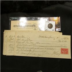 1899 Anderson, Ind. Postal Card; (16) Different 1898-1899 Sight Drafts and Checks from Mississippi (
