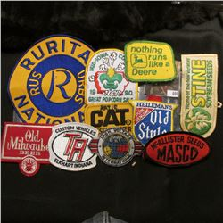 "(10) Different Cloth Embroidered Advertising Patches including ""John Deere"", ""Heileman's Pure Genuin"