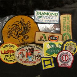 "(10) Different Cloth Embroidered Advertising Patches including Hawkeyes, ""Cargill Corn Plant"", ""Asgr"