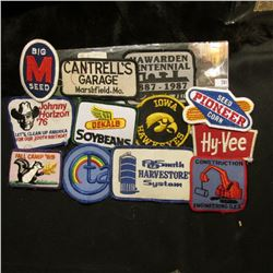 "(12) Different Cloth Embroidered Advertising Patches including Hawkeyes, ""Hawarden Centennial 1887-1"