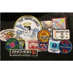 "(12) Different Cloth Embroidered Advertising Patches including ""Emergency Medical Technician"", ""Indi"