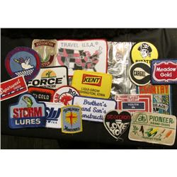 "(20) Different Cloth Embroidered Advertising Patches including ""Pioneer Brand Seeds"", ""Meadow Gold"","
