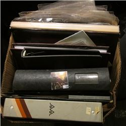 Large box full of Coin & Stamp Supplies, Plastic Pages, Note books, etc.