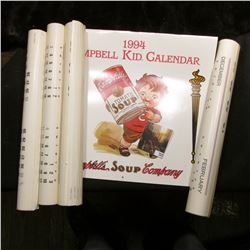 """1994 Campbell Kid Calendar Campbell's Soup Company""; & (4) 1979 ""Union Pacific Railroad"" Calendars."