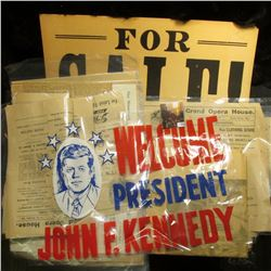 """""""For Sale"""" heavy cardboard sign; 1950 Muscatine Journal newspaper; several old newspaper Opera House"""