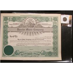 "Unissued Stock Certificate Number 36 ""Muscatine, Iowa"" ""Diercks Music Company"", lithograph of Iowa s"