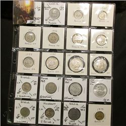 "20-pocket 2"" x 2"" Plastic page full of World Coins including Jamaica, India, Hungary, Bahamas and Fr"