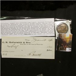 1831-1931 Centennial of the Reaper International Harvester Medal & original 1876 Business Check from