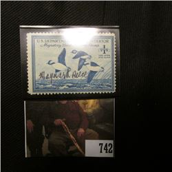 1948 One Dollar Federal Migratory Bird Hunting Stamp, Signed by Artist Maynard Reece, Hinged, VF, Sc