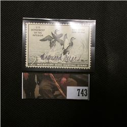 1951 Two Dollar Federal Migratory Bird Hunting Stamp, Signed by Artist Maynard Reece, no gum, Scott