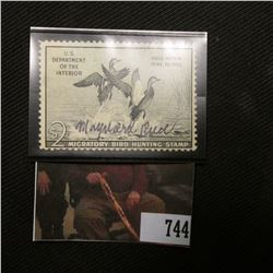 1951 Two Dollar Federal Migratory Bird Hunting Stamp, Signed by Artist Maynard Reece, hinged, Scott