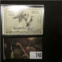 1951 Two Dollar Federal Migratory Bird Hunting Stamp, Signed by Artist Maynard Reece, light hinge, S