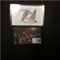1974 Artist Signed Iowa Migratory Waterfowl One Dollar Stamp, signed by Mark Reece. NH.
