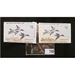Pair of 1981 Artist Signed Iowa Migratory Waterfowl Five Dollar Stamp, signed by Brad Reece.