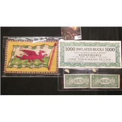 "Pair of miniature ""The Untied States of Aremica"" notes; felt flag from ""Wales""; & $1000 Infalted Buc"