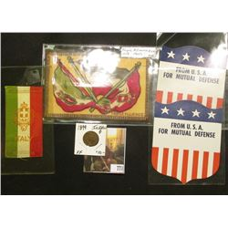 "Pair of ""From U.S.A. For Mutual Defense"" Shields with stars and stripes; Silk Ribbon ""Italy""; silk f"