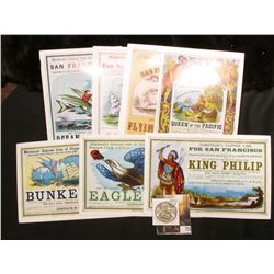 (8) Different Advertising Placards for 1800 era Sailing Clippers; & 1953 S Franklin Half Dollar, Bri