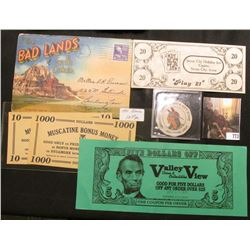 "1950 Postmarked multi-fold Postcard from ""The Badlands of South Dakota""; label with Indian ""Vaughn's"