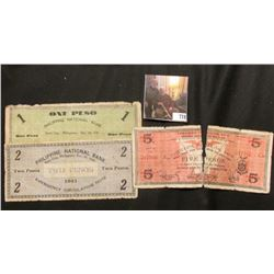 $1, $2 & $5 Philippine National Bank Iloilo City Emergency Circulating 1941 World War II Banknotes,
