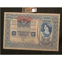 Series 1382 Austria One Thousand Kronen Banknote from 1902, AU.