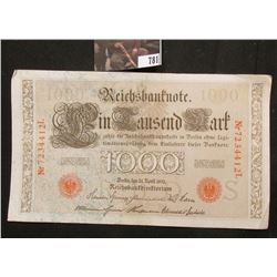 April 21, 1910 German 1,000 Mark Reichsbanknote, AU.