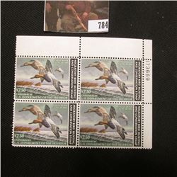 1982 Plateblock of Four RW49 $7.50 Federal Migratory Waterfowl Stamps, EF, NH,