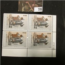 1983 Plateblock of Four RW50 $7.50 Federal Migratory Waterfowl Stamps, EF, NH,