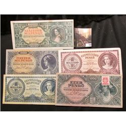 Five different 1945-46 Hungary Banknotes including $10,000 to One Million Pengos.