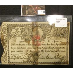 1799 Portugal Lisboa $5,000 Banknote, with rust colored crown overprint. 'Doc' valued this at $50 ov