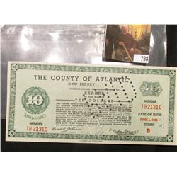 June 1, 1935 $10 Depression Scrip, County of Atlantic, Series B, MS #:  NJ155-10, Size:  191 mm x 88