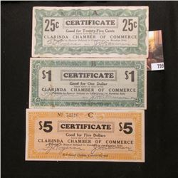 April 10th, 1933 Clarinda, Iowa Depression Scrip Three-piece Set.  MS #:  IA220-.25A, 5A, & 1. Each