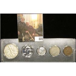 Type Set 1936 Half, 1962 Proof Quarter, 1976S Proof Dime, 1911 Nickel & 1905 Indian Head Cent. in a