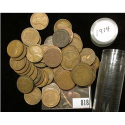 1914 P Solid date Lincoln Cent Roll (50) Pieces.