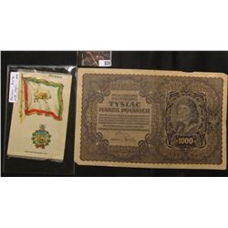 Silk Flag from Persia & 1919 Poland 1000 Zloty over-sized Banknote.