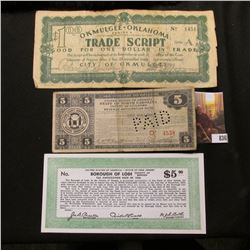 Trio of Depression Scrip: April 14, 1933 First Issue County of Guilford - Revenue Anticipation $5 No