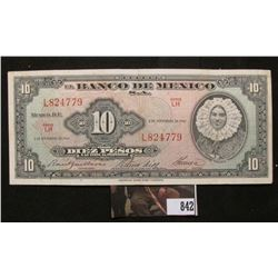 "Series LH ""El Banco De Mexico"" November 8, 1961 Ten Peso, Almost Uncirculated."