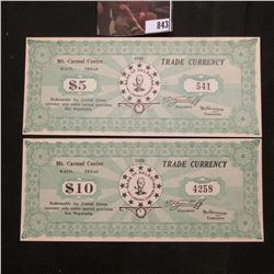 "1938 $5 & $10 Mt. Carmel Center, Waco, Texas Trade Currency ""Redeemable for United States currency u"