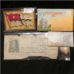 """Souvenir of Gettysburg Pa. Containing 25 Detachable Post Cards""; felt flag of ""Samoa""; At Sight Dra"