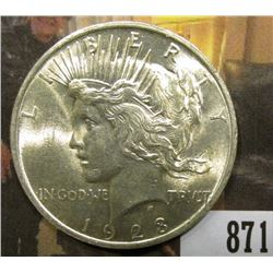 1923 P U.S. Peace Silver Dollar, Brilliant Uncirculated.