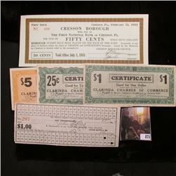 "1917 Hostetter, Pa. Coal Scrip from Union Supply Co. Hole cancelled; ""First Issue February 15, 1933"