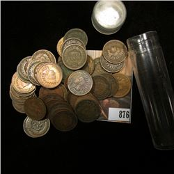 Roll of (50) Old Mixed Date and Grade Indian Head Cents in a plastic tube.