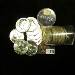 1965 P Original BU Roll of 40% Silver Kennedy Half Dollars in a plastic tube.